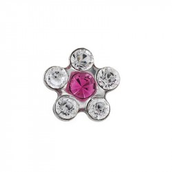 Daisy cristal/cœur rose,  acier