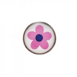 Fleur rose,  acier