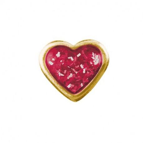 Coeur Brillant rouge - doré