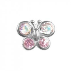 Papillon rose AB cristal
