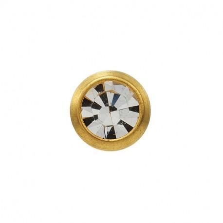 Cristal serti 3mm,  or jaune