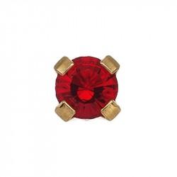 Rubis 3mm griffé,  doré