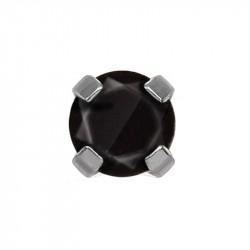 Zircon 4mm noir griffé ,  acier