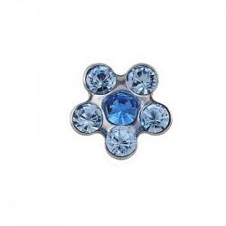 Daisy bleu /coeur saphir,  acier